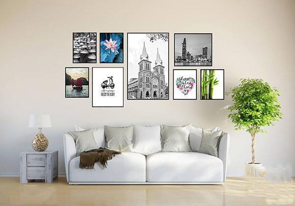 Tranh trang trí treo tường đẹp, tạo nên không gian sang trọng