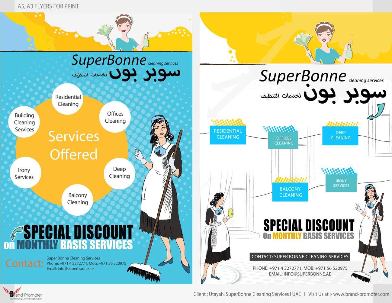 brand promoter 2016 print entity design flyers a3 a5 mailers brochure l client utayah superbonne cleaning services uae l us at brand promoter com l
