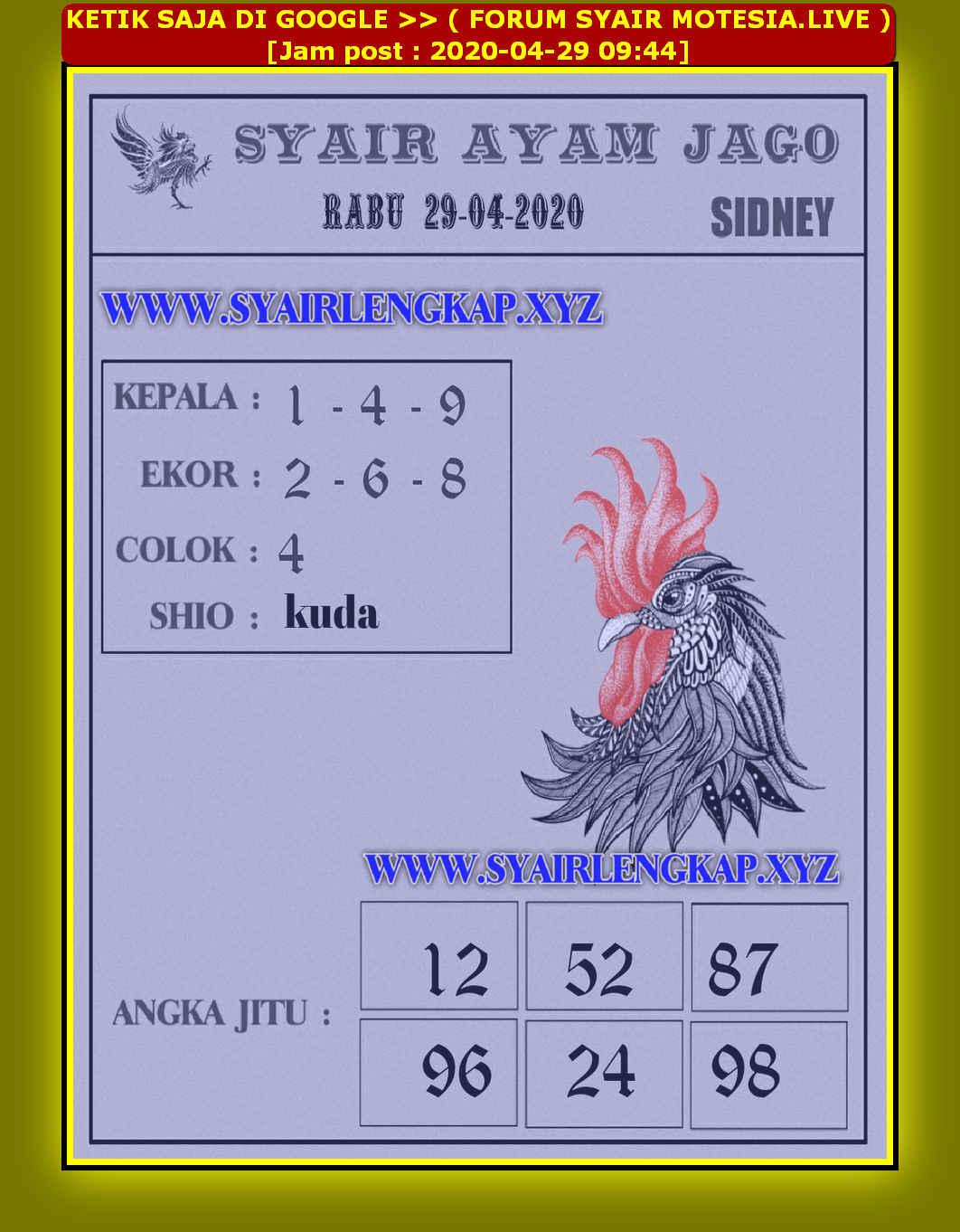 Kode syair Sydney Rabu 29 April 2020 113