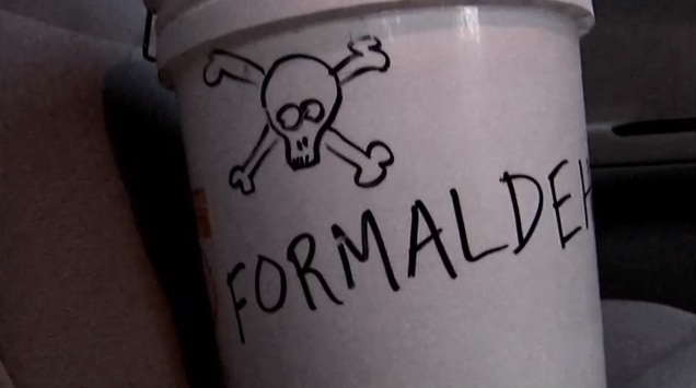 large white bucket labeled 'formaldehyde' with skull and crossbones