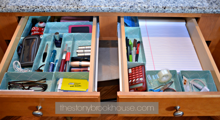 Desk Drawers Organized with cereal boxes