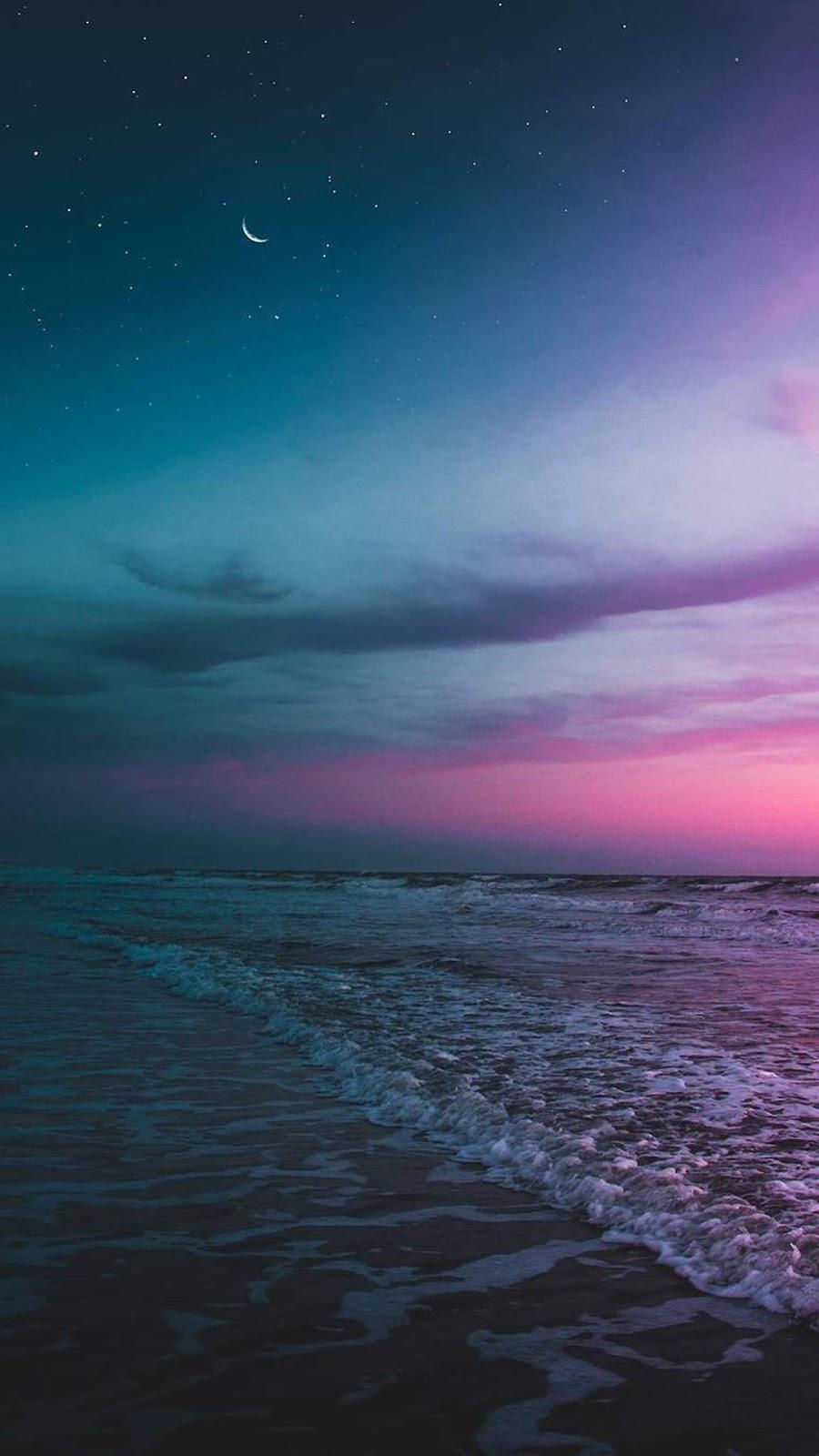 Beach the night sky