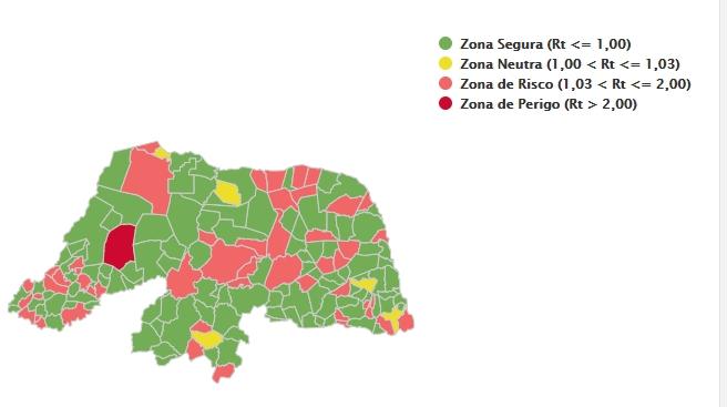 RN tem 51 municípios em risco ou perigo para taxa de transmissibilidade da covid-19
