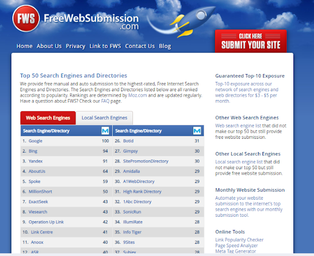 Top Free Search Engine Submission Sites List
