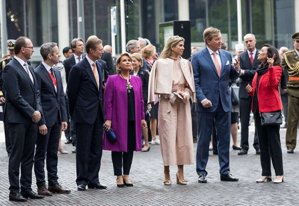 Queen Maxima wore SALVATORE FERRAGAMO Flower Heel Pump Shoes. Natan outfit Queen Maxima wore Natan coat, blouse and trousers. tiara