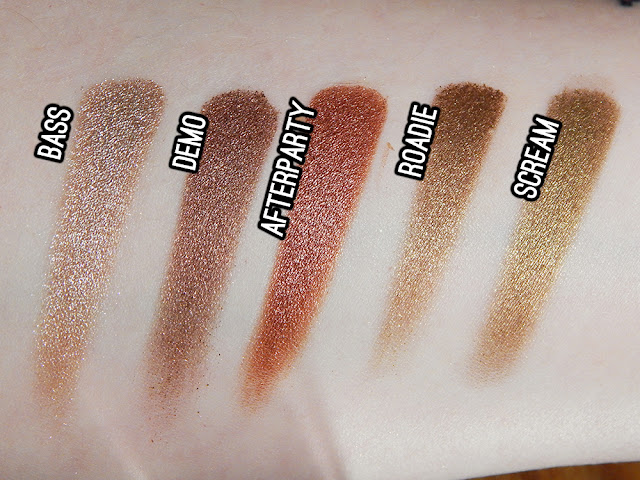 Urban Decay Heavy Metals Holiday eyeshadow palette - Scream, Roadie, Afterparty, Demo, Bass swatches