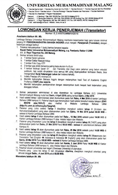 Lowongan Kerja Universitas Muhammadiyah Malang