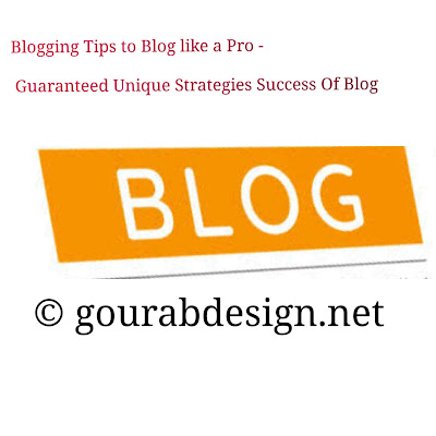 Blogging Tips to Blog like a Pro - Guaranteed Unique Strategies Success Of Blog