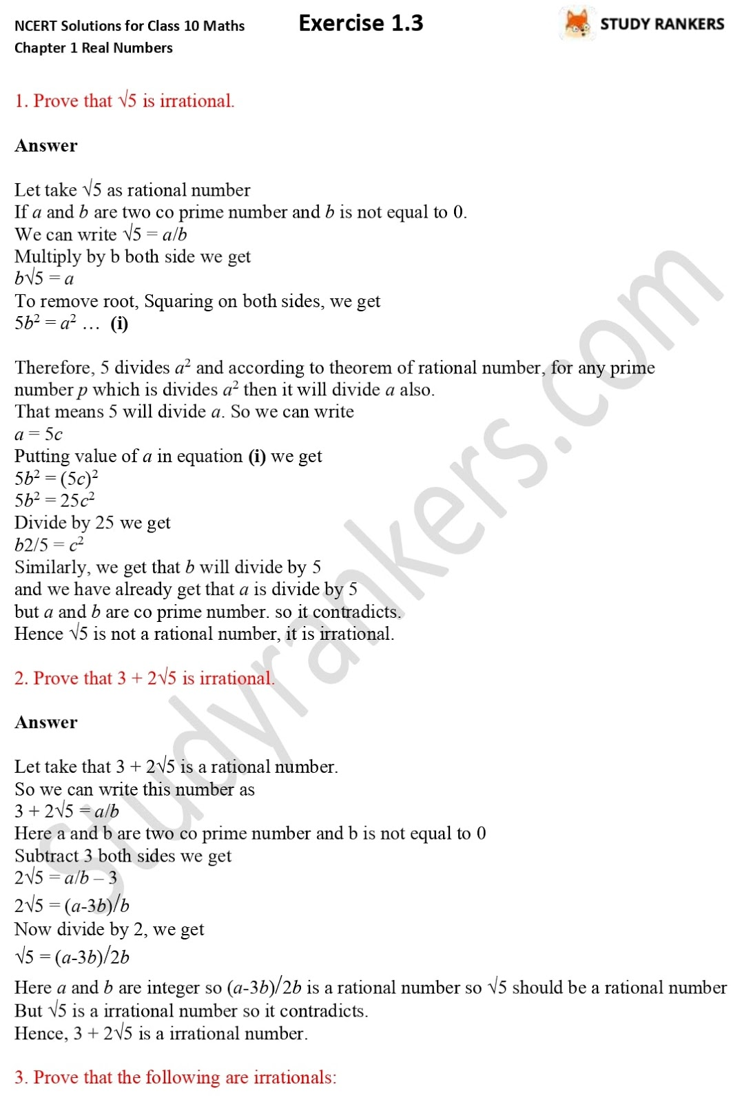 NCERT Solutions for Class 10 Maths Chapter 1 Real Numbers Exercise 1.3 1