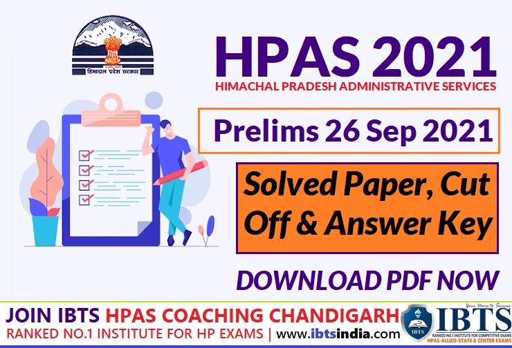 HPAS Prelims Exam Analysis 26 September 2021 (Download HPAS Prelims Exam Solved Paper & Exam Key Pdf)