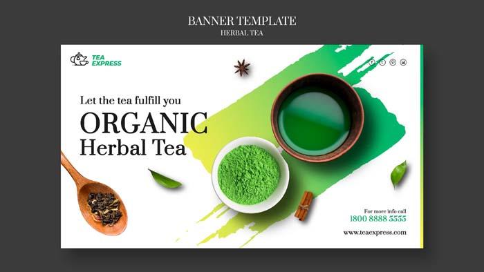 Herbal Tea Banner Design Free Download