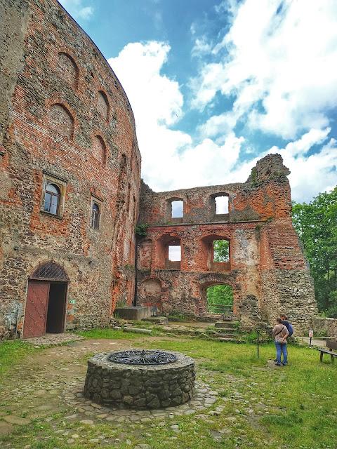 Zamek Grodno, studnia, ściana północna zamku, dolny śląsk