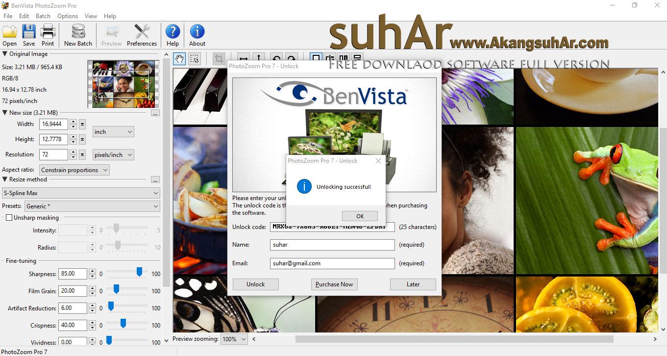 Download Benvista PhotoZoom Pro unlock code