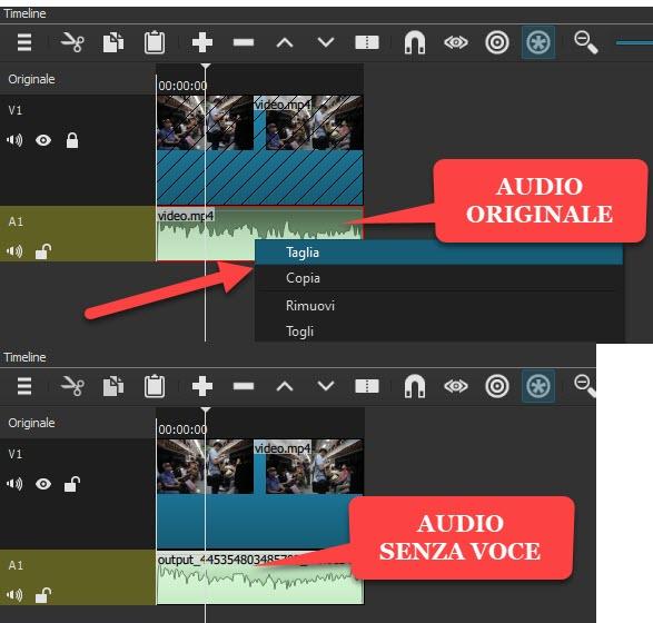 sostituzione audio originale con quello processato