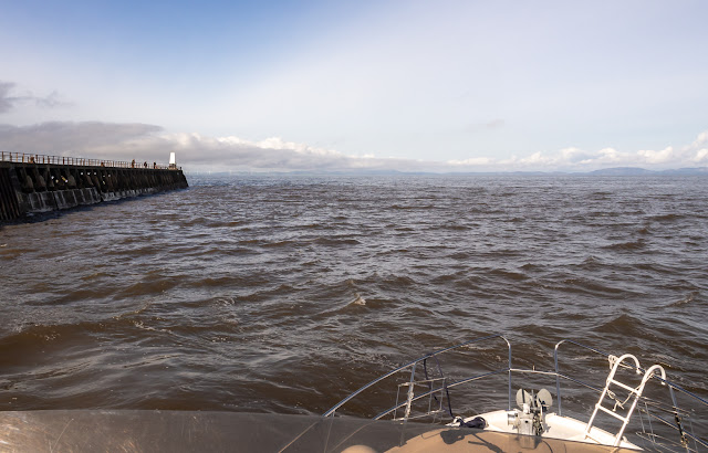 Photo of the view from Ravensdale's flybridge as we headed out between the piers