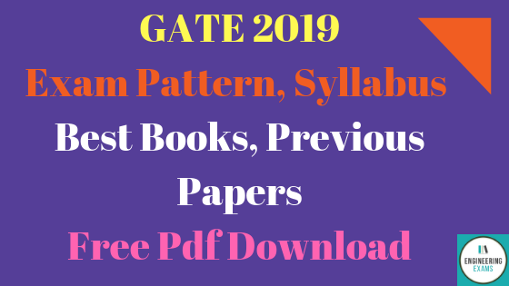 GATE 2019 Exam Pattern, Syllabus, Best Books, Previous Papers Free Pdf Download