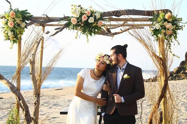 multiracial couple beach wedding
