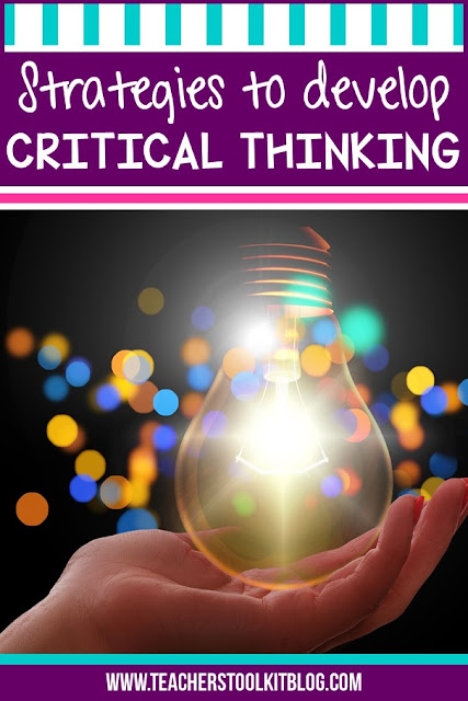 """Image of a lightbulb with text """"Strategies to Develop Critical Thinking"""""""