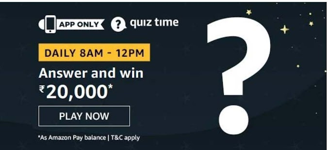 Amazon Quiz 7 September 2020 Answers Win – Rs.20000 Pay Balance