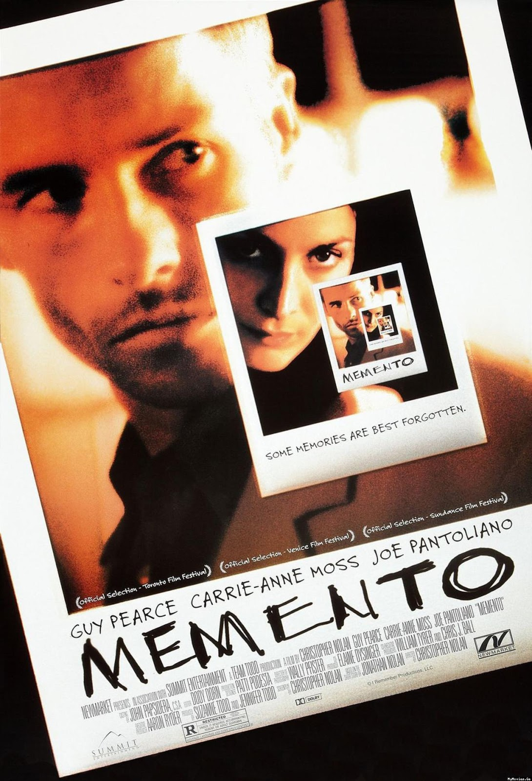 The theatrical release poster for Memento. It depicts Guy Pearce and Carrie-Anne Moss in a series of photographs that become increasingly smaller using an infinity mirror effect.