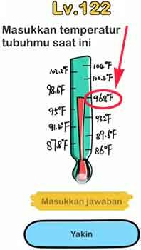 Saat Ini Masukkan Temperatur Tubuhmu Jawaban Brain Out di Level 122