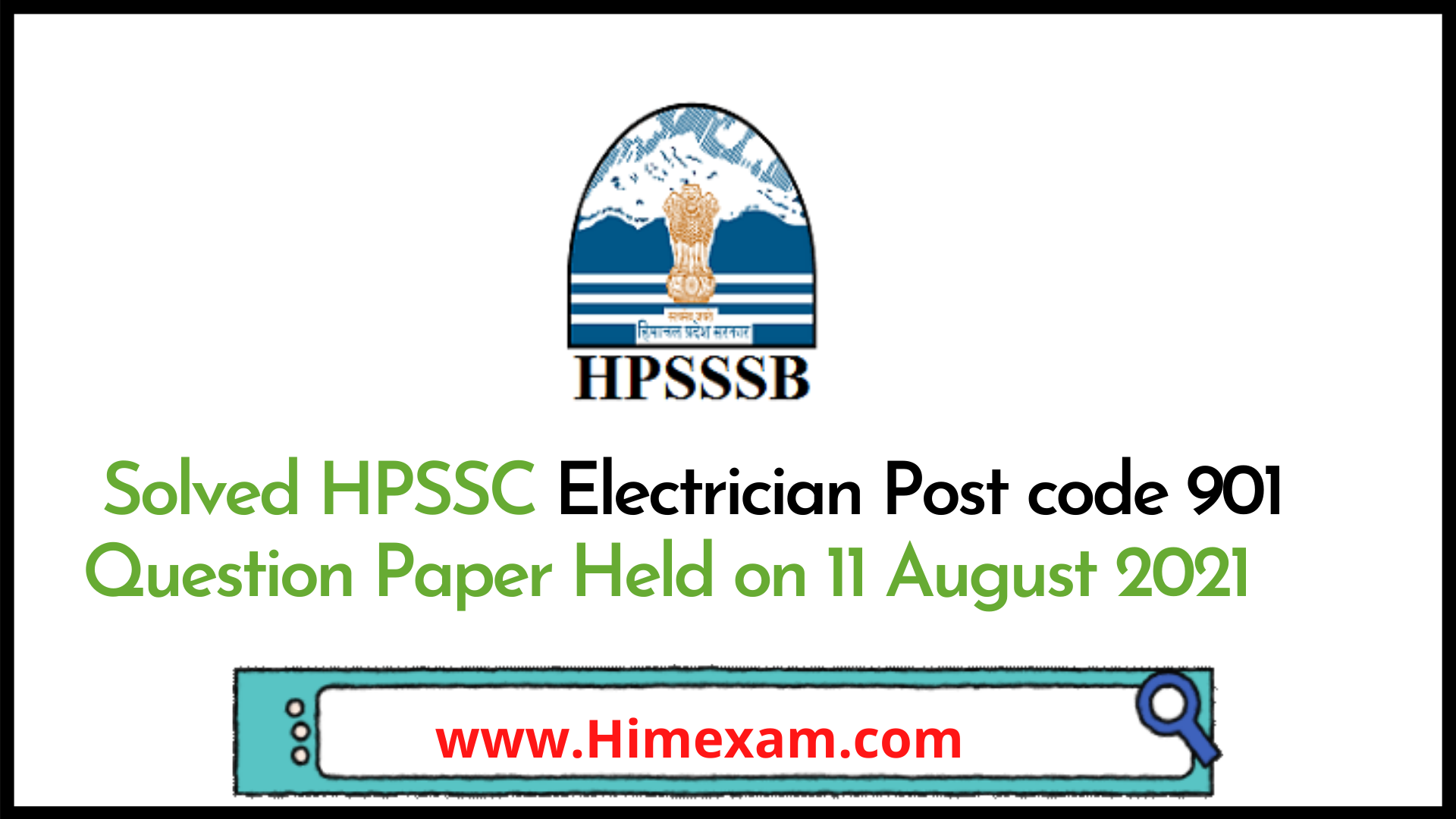 Solved HPSSC Electrician  Post code 901 Question Paper Held on 11 August 2021
