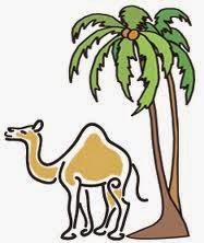Gambar Animasi Kartun Unta Bergerak Pohon Kurma Arab di Padang Pasir