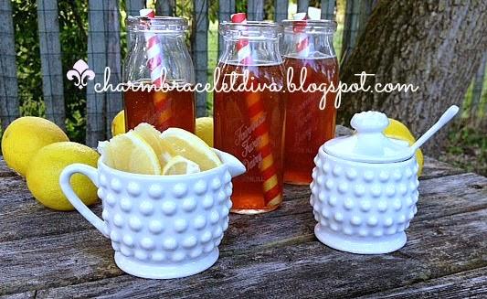sliced lemons homemade tea milk bottles
