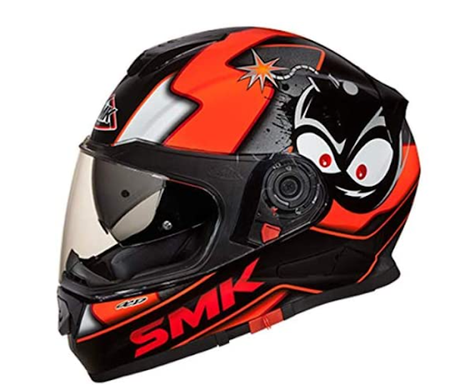 SMK MA271 Twister CARTOON Graphics Pinlock Fitted Full Face Helmet With Clear Visor (Large)