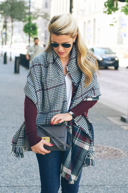 barbour plaid and houndstooth wrap