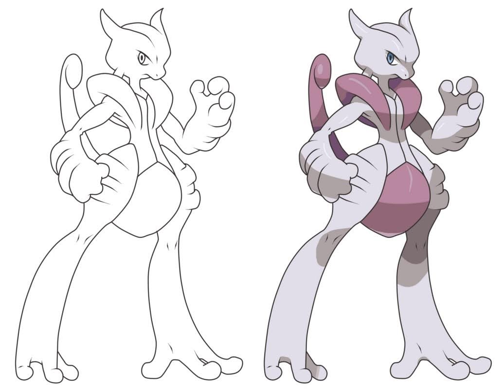 Mewtwo Coloring Pages Printable Free Pokemon Coloring Pages