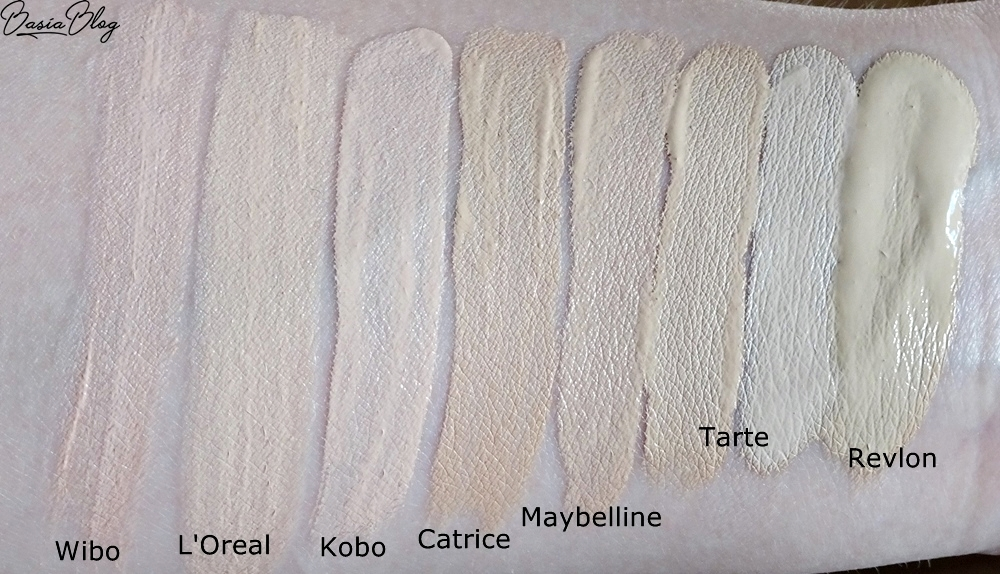 Tarte Shape Tape Light Sand, Tarte Shape Tape Fair, Catrice Liquid Camouflage 005 Light Natural, Revlon ColorStay C/O 150, Maybelline Affinitone 01 Nude Beige, swatche korektora Tarte, Tarte concealer swatch, jasny korektor