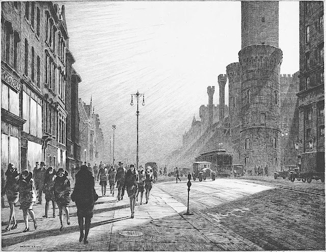 a Martin Lewis 1929 print of poeople walking in a cityscape with radiating sun rays