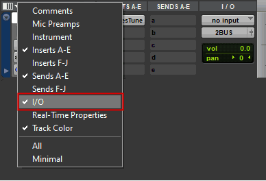 Display IO menu in Avid Pro Tools