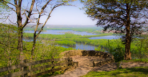 View of the confluence of the Wisconsin and Mississippi Rivers at Wyalusing State Park