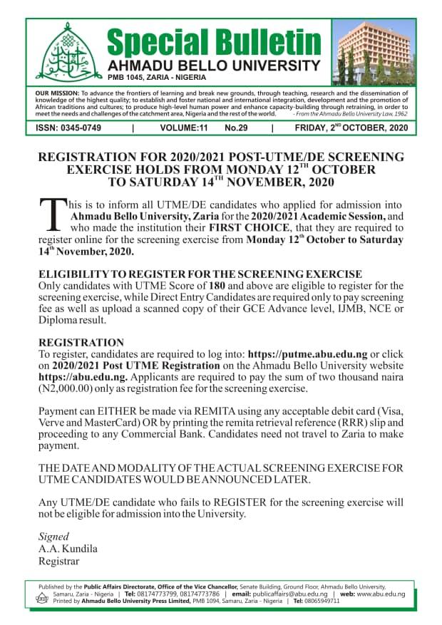 ahmadu-bello-university-post-utme-de-registration-2020-2021-screening-exercise