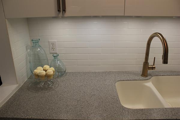 Delta Trinsic faucet with white backsplash