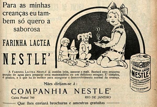 Propaganda de 1926 da Farinha Láctea Nestlé como sugestão de enriquecimento da alimentação das crianças