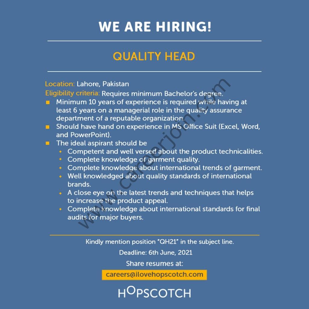 HOPSCOTCH Jobs 2021 in Pakistan