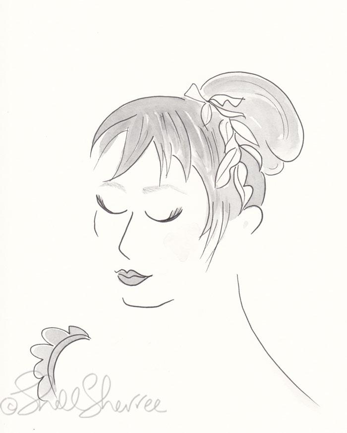 Black and White Grecian-Inspired Glam fashion illustration © Shell Sherree