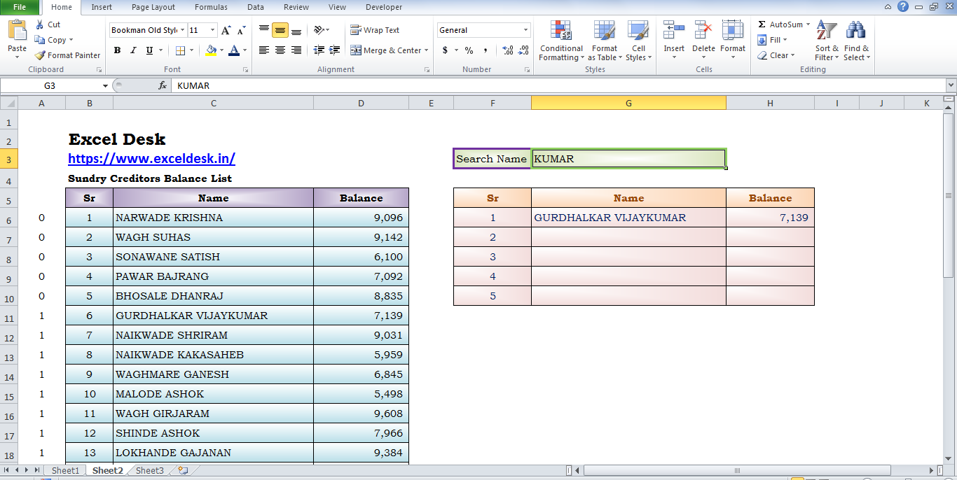 Searchable List Using Formula IF & VLOOKUP www.exceldesk.in
