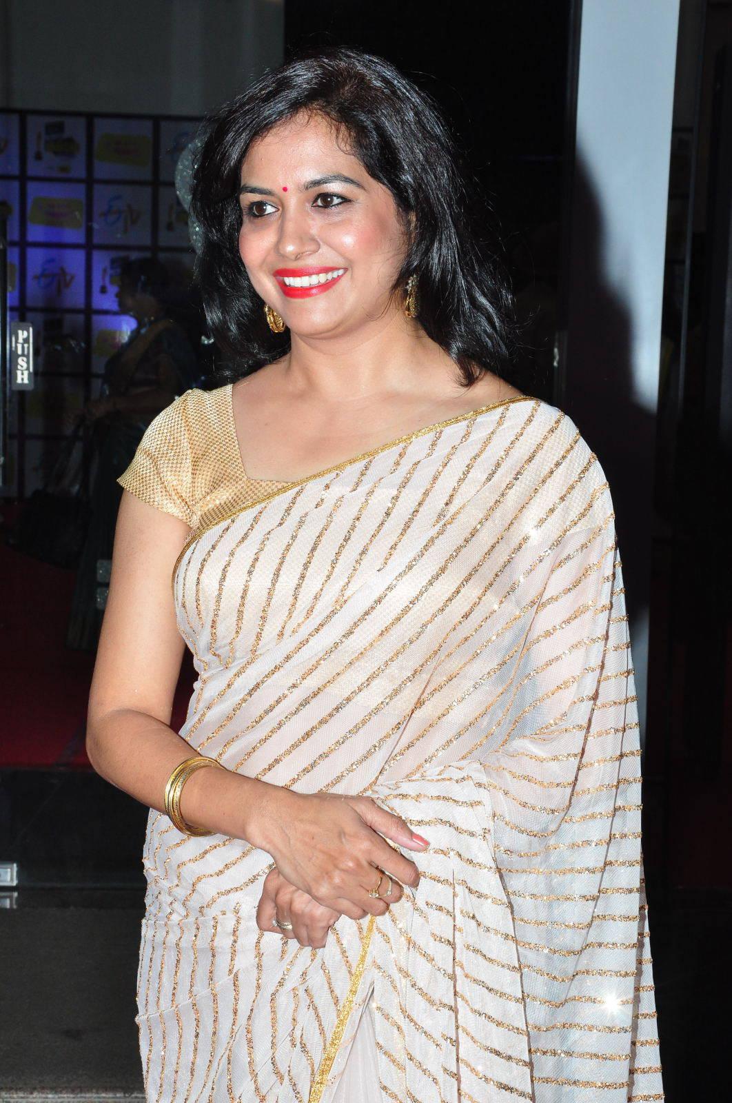 Singer Sunitha Photos In White Saree