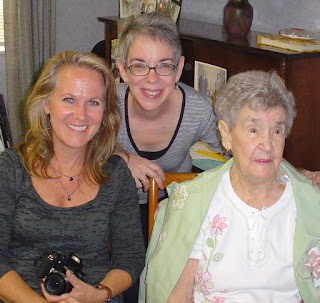 My sister and me with Mawie on her 100th birthday. Property of OhHowGrand.com, all rights reserved.