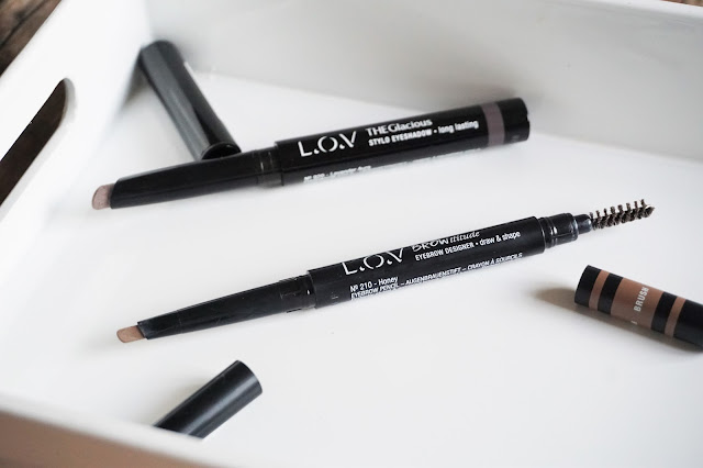 L.O.V Cosmetic THEGlacious Stylo Eyeshadow in 920 Lavender Aura, BROWttitude Eyebrow Designer in 210 Honey