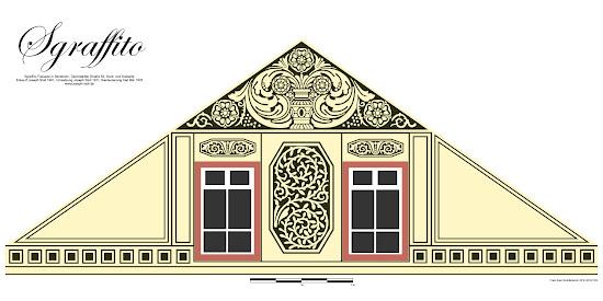 Bensheimer Häuser - damals und heute - Digitalisierte Sgraffito-Putz Fassade von 1911 der Darmstädter Straße 50 in Bensheim, die 1911 die ursprüngliche klassizistische Fassade abgelöst hat.
