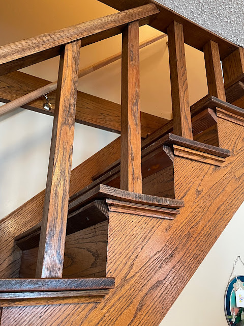 craftsman style oak staircase Grafton Illinois coffee antiques shop Lightkeepers Coffee 101 E Main St Sears Vallonia