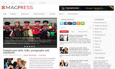 MagPress - 16 Of The Best Free Blogger Templates