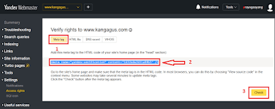 Contoh gambar ilustrasi verifikasi ke yandex webmaster