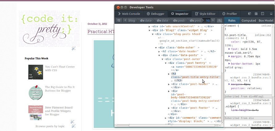 Code it Pretty: Blog Font Style with CSS - Finding the Selectors