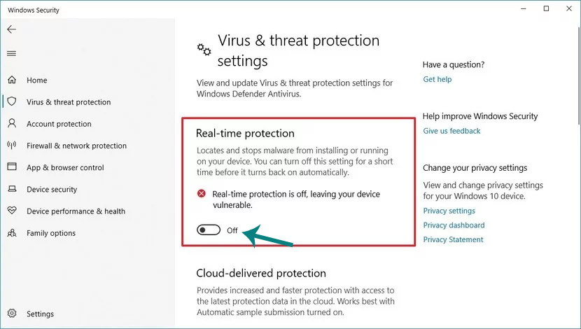تعطيل Windows Defender Antivirus 10